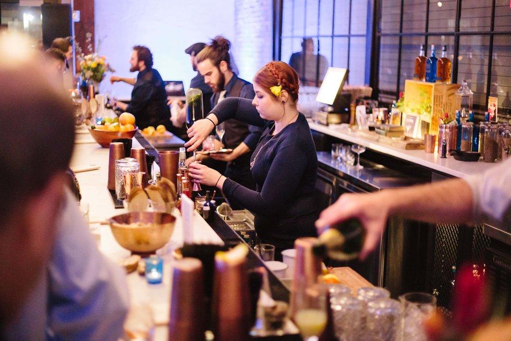 Celebrating Bluecoat's new distillery opening in Philadelphia.