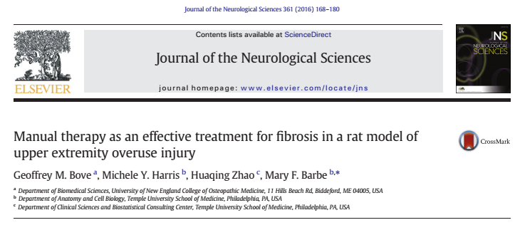 Manual therapy as an effective treatment for fibrosis in a rat model of upper extremity overuse injury