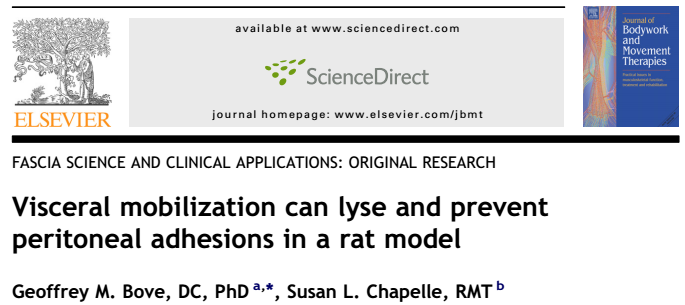 Visceral mobilization can lyse and prevent peritoneal adhesions in a rat model