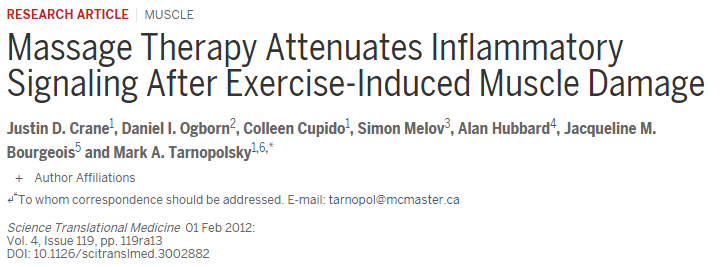 Massage therapy attenuates inflammatory signaling after exercise-induced muscle damage