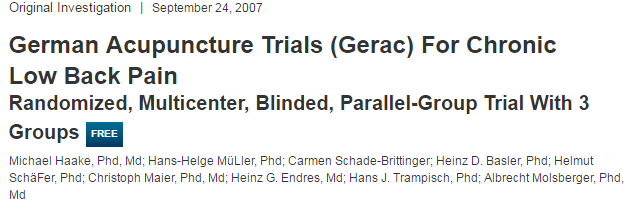 German Acupuncture Trials (Gerac) For Chronic Low Back Pain