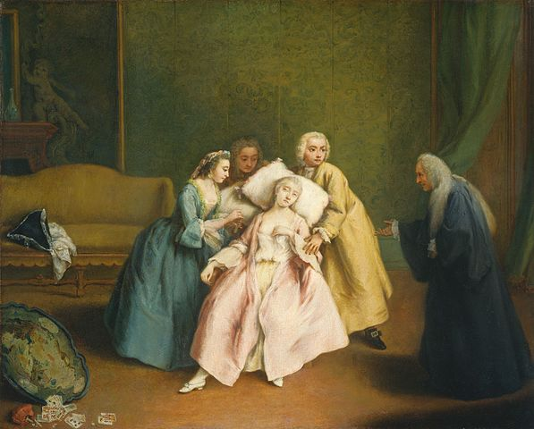 A 1744 oil painting by Pietro Longhi called Fainting