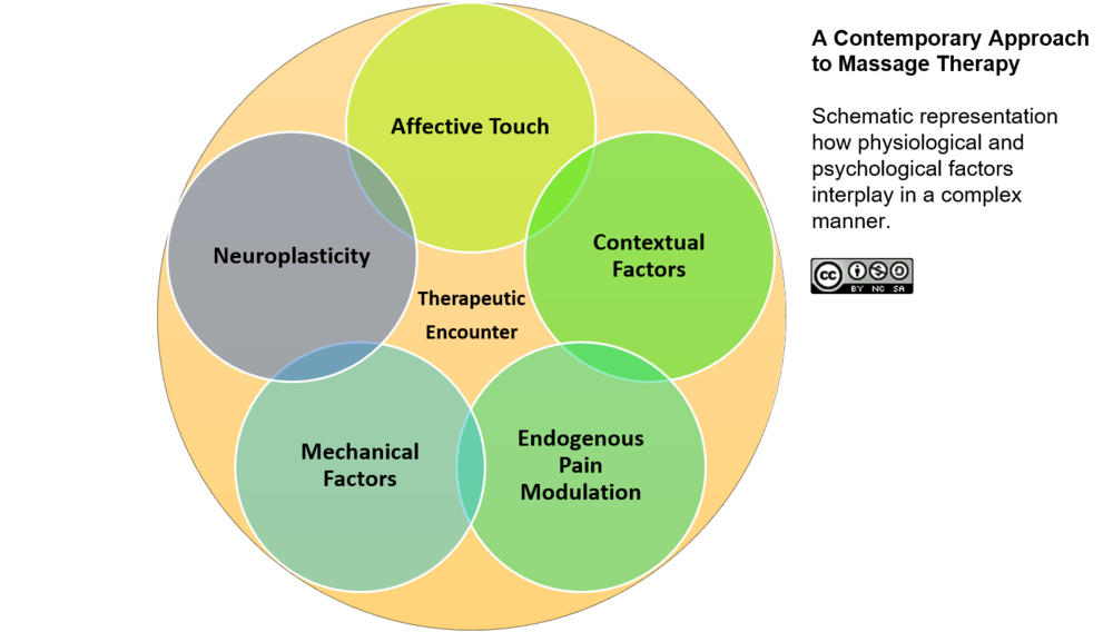 In a contemporary approach massage therapists use a clinically-oriented multi-modal treatment (manual therapy, remedial exercise and patient education) based on the biopsychosocial model of health and disease.