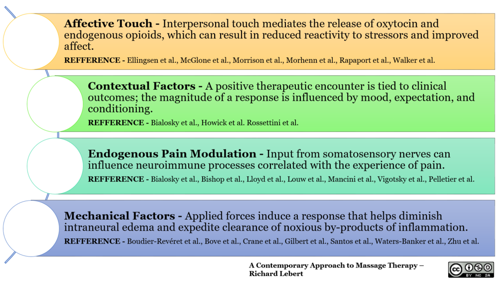 With massage therapy a favorable outcome can be explained by a number of overlapping mechanism in the periphery, spinal cord, and brain.