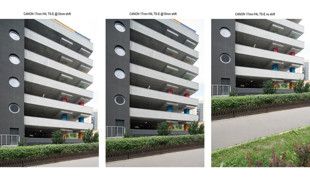 Canon 17mm f/4L TS-E basic shifts compared