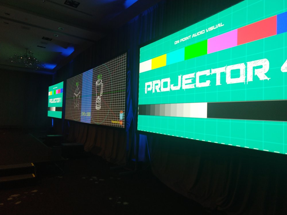 Multiscreen setup with a center widescreen projection blend