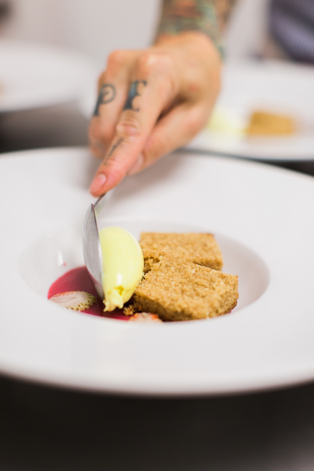 hazelnut cake. hibiscus curd. curried ice cream.