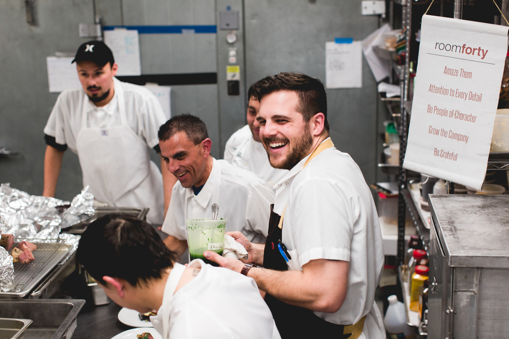 sous chef tony celeste and team in the roomforty kitchen.