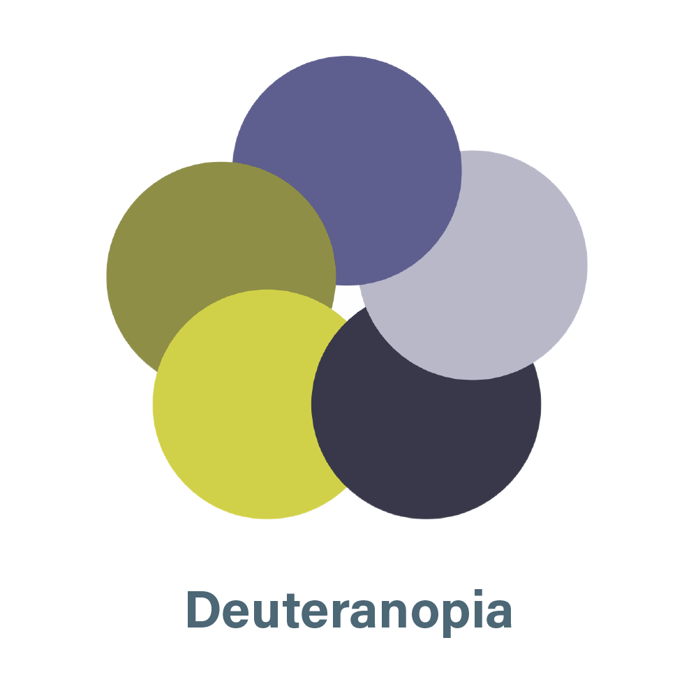 aSharedVision.com primary color palette seen by a person with Deuteranopia.