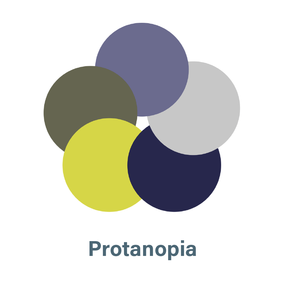 aSharedVision.com primary color palette seen by a person with Protanopia.