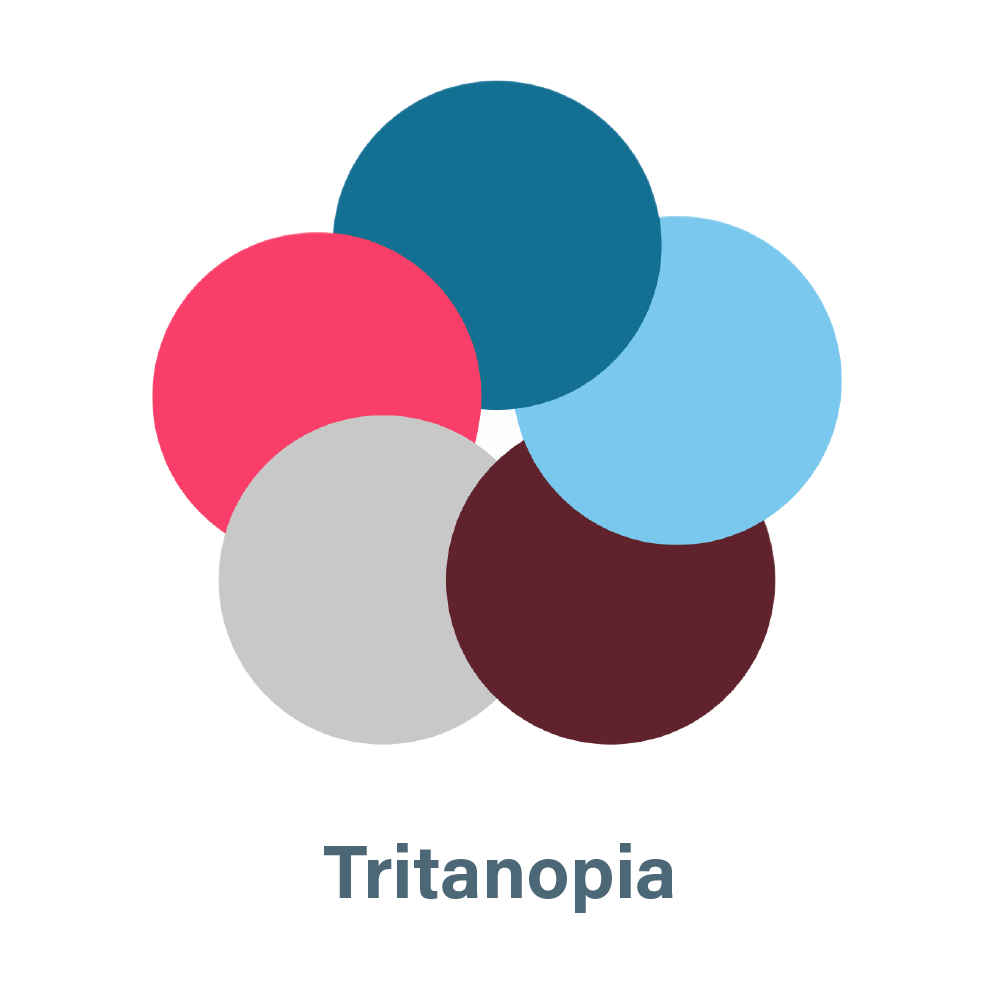 aSharedVision.com primary color palette seen by a person with Tritanopia.