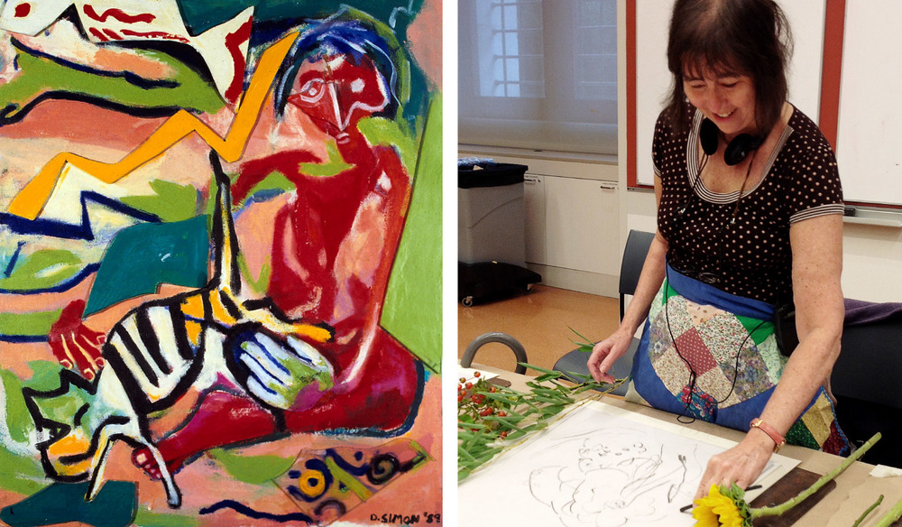 "Left: Dana Simon's ""Fish Jumped Over the Cat,"" mixed media on canvas. Copyright Dana Simon, 1990. Right: Artist Dana Simon at work."