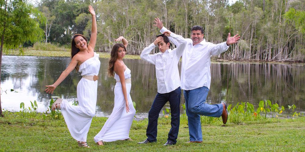 April, Savannah, Brandon, and George Lufriu near their home in Tampa, Florida.