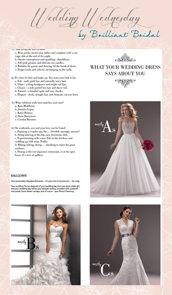 Wedding Wednesday Wedding Dress Style Quiz Brilliant Bridal