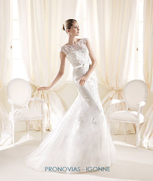 Illusion neckline wedding gowns pronovias igonne