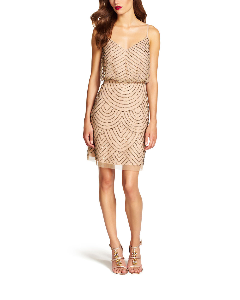 Brideside Adrianna Papell Dress Taupe Pink $198