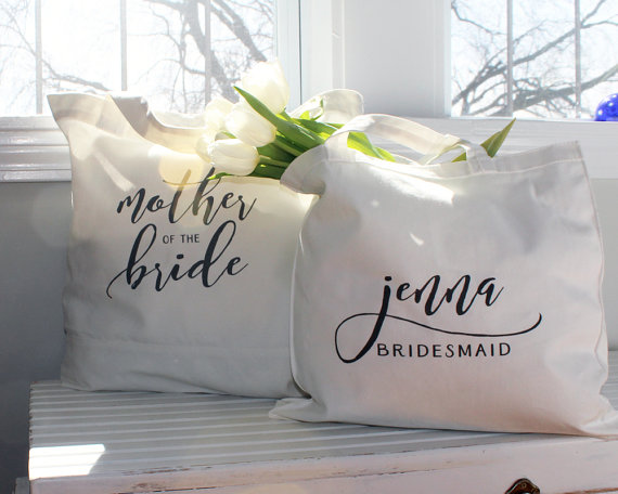 Personalized bridesmaid tote from 42 North designs $15.00