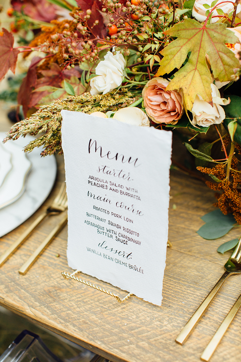 fall wedding menu