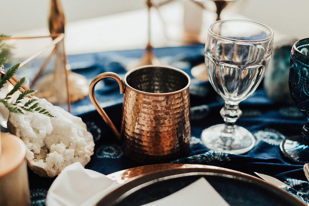 copper mug moscow mule wedding detail