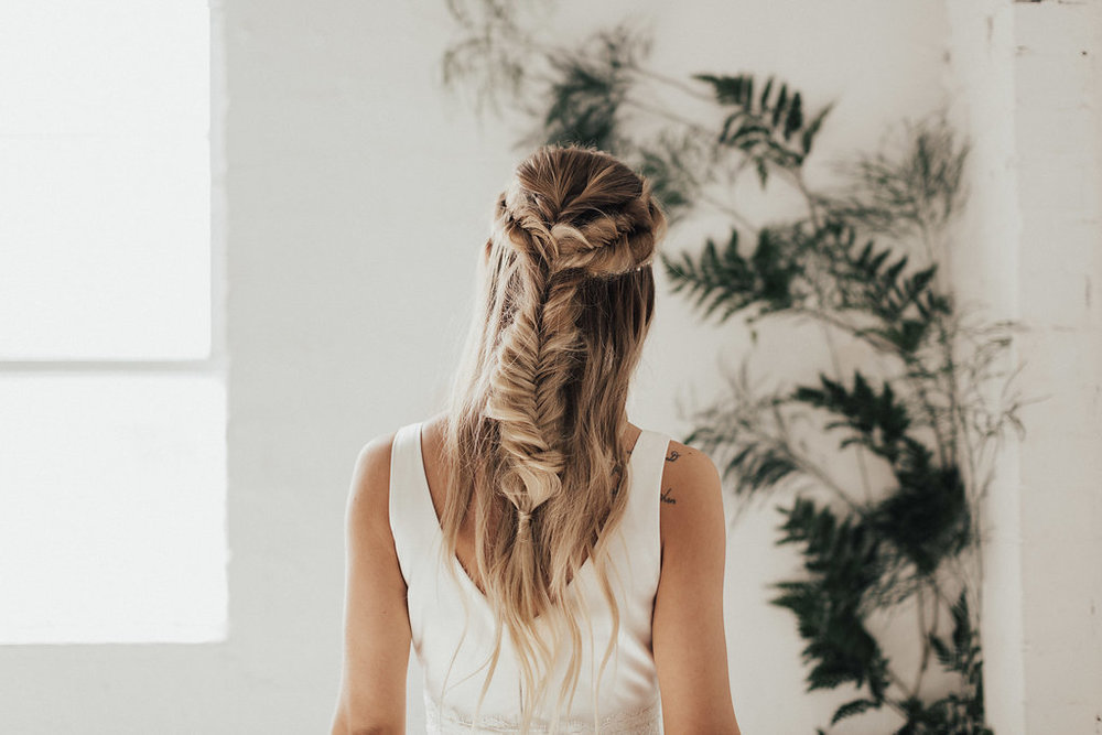 Fall wedding bridal hair braid