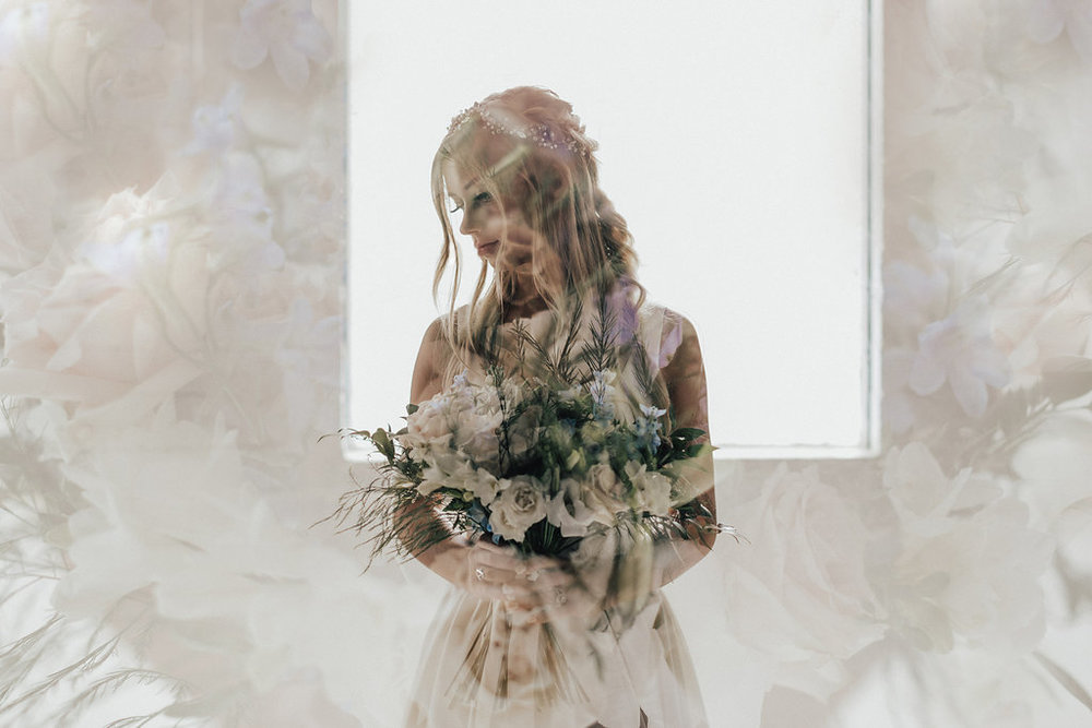 fall wedding double exposure wedding photography