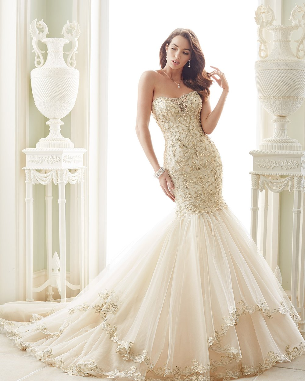 mon cheri bridal Ivory/Pewter  Retail Price $2123 | Message for price