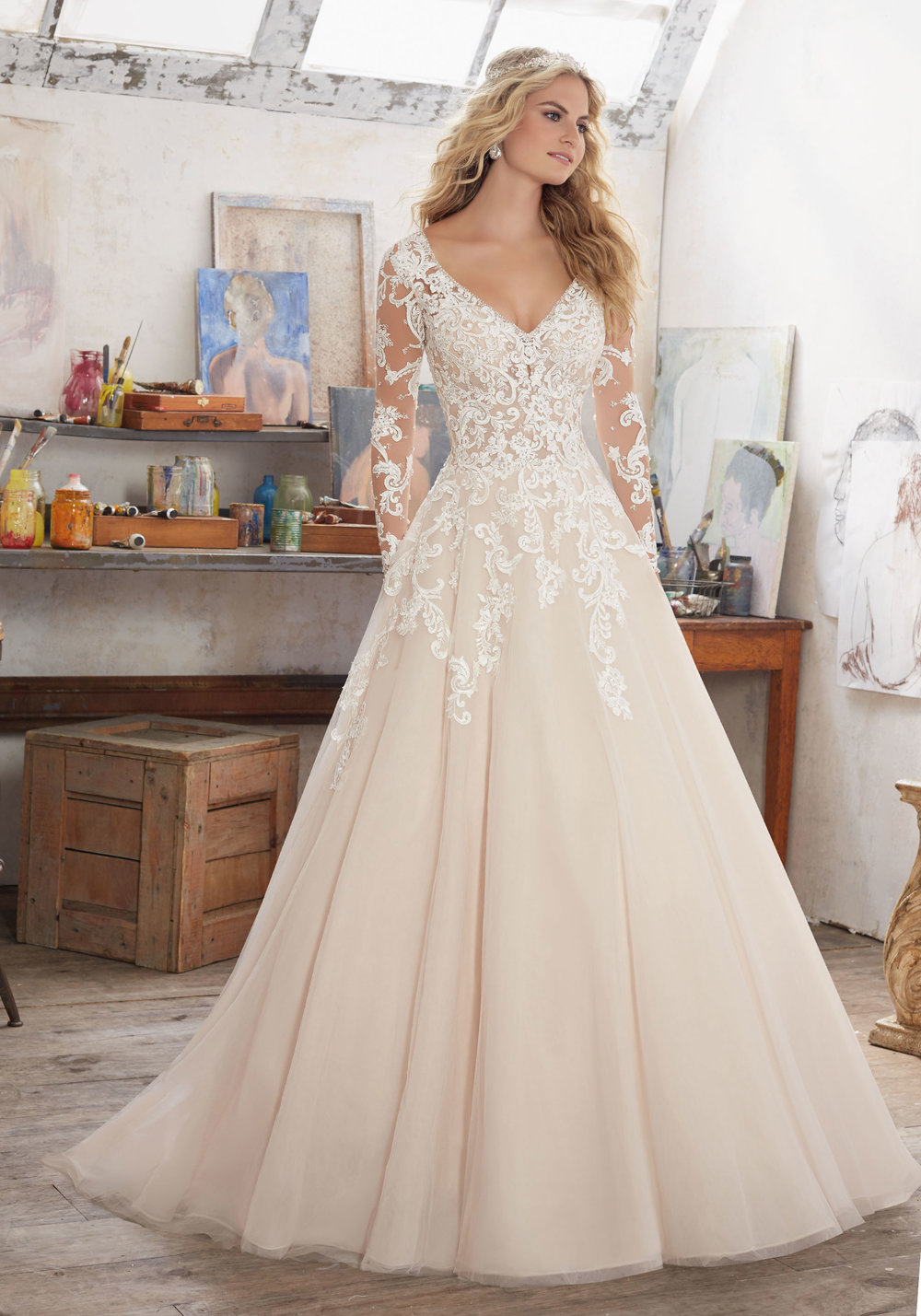 Mori Lee 8110 Ivory Caramel // Retail Price $1274 | Our Price $891