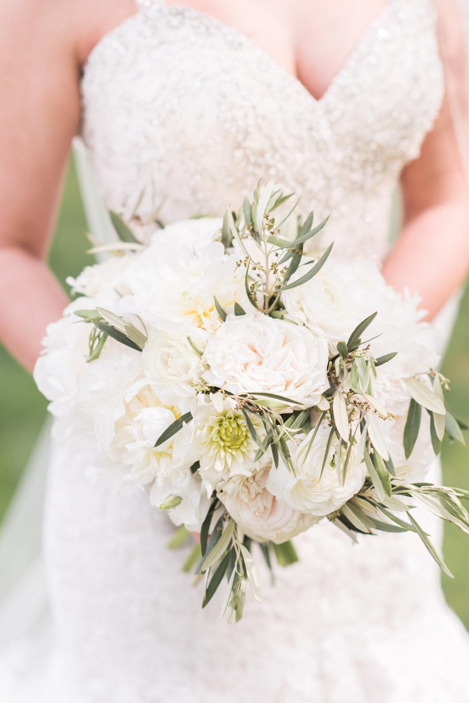 white peony bouquet