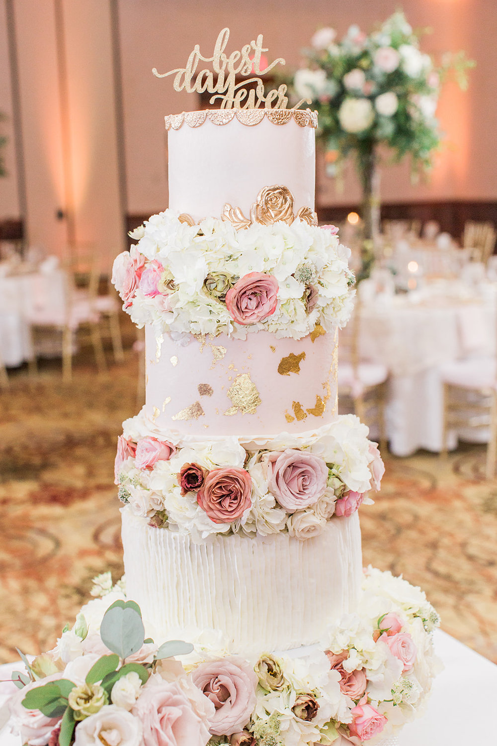 wedding cake blush and pink gold foil