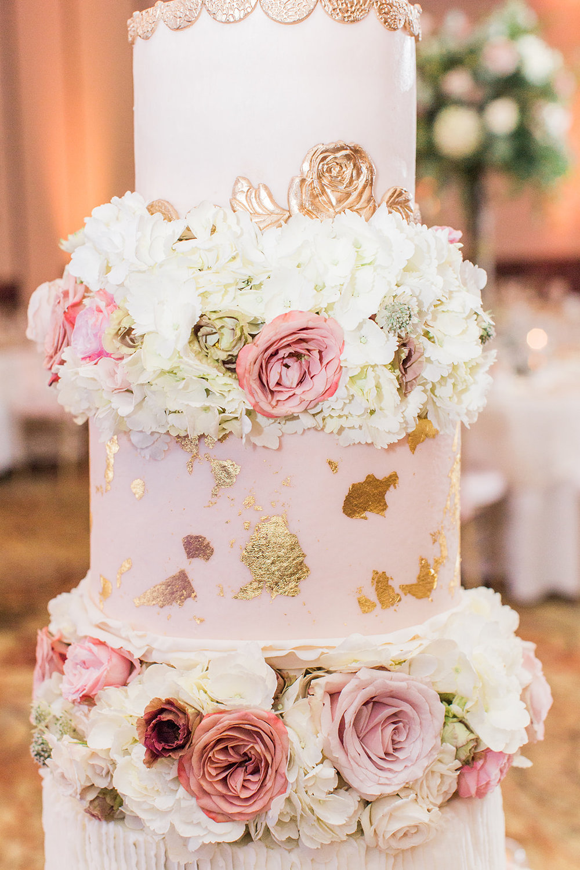 wedding cake blush and gold