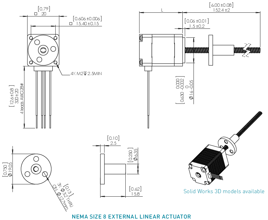 NEMA 8 External Linear Actuator Drawing