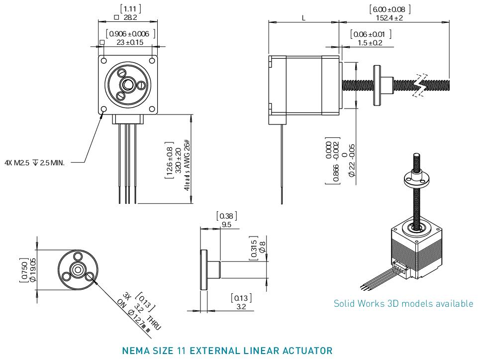 NEMA 11 External Linear Actuator Drawing