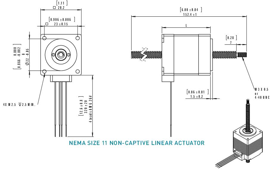 NEMA 11 Non-Captive Linear Actuator Drawing