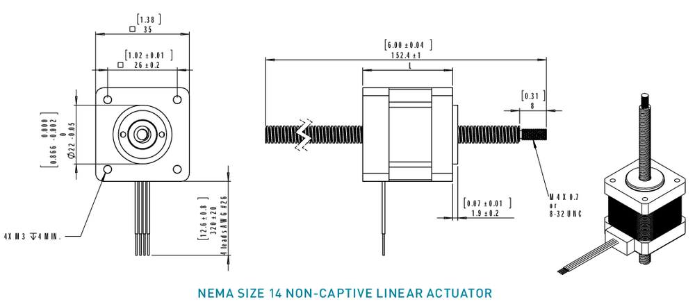 NEMA 14 Non-Captive Linear Actuator Drawing