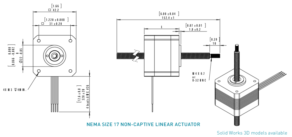 NEMA 17 Non-Captive Linear Actuator Drawing
