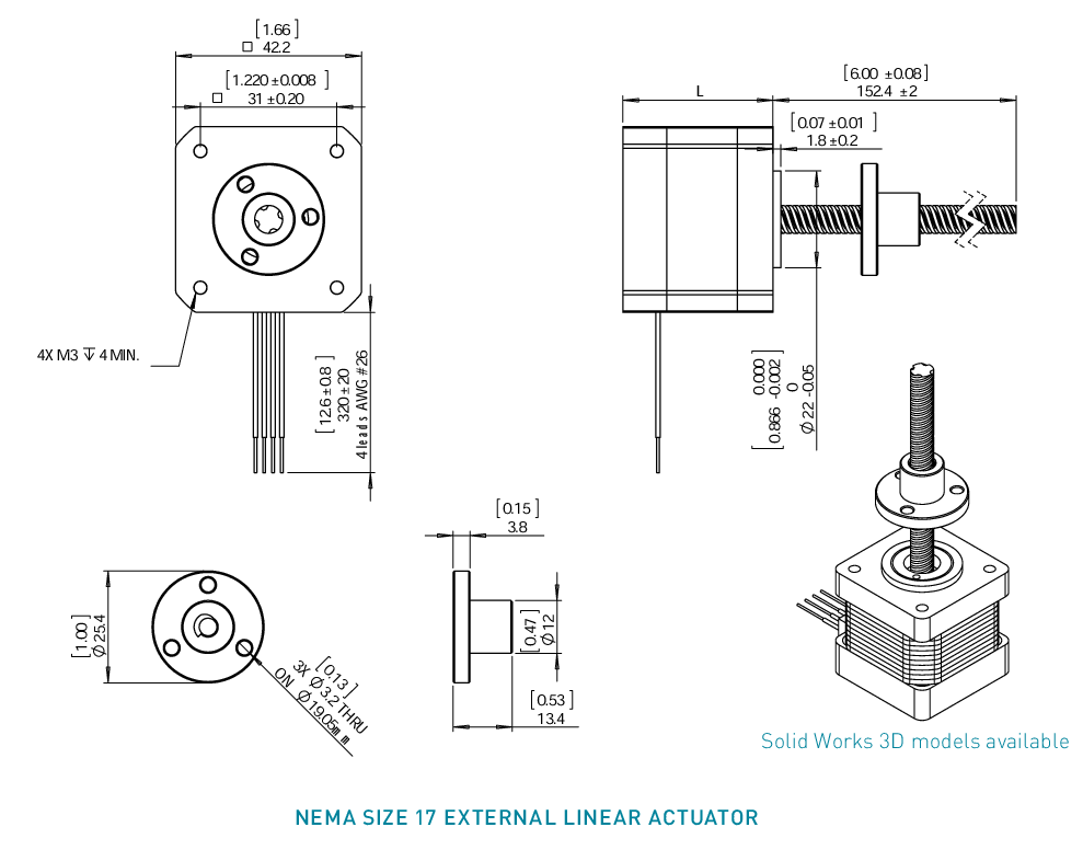 NEMA 17 External Linear Actuator Drawing