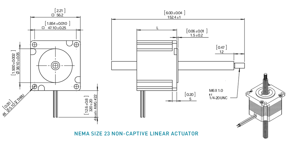 NEMA 23 Non-Captive Linear Actuator Drawing