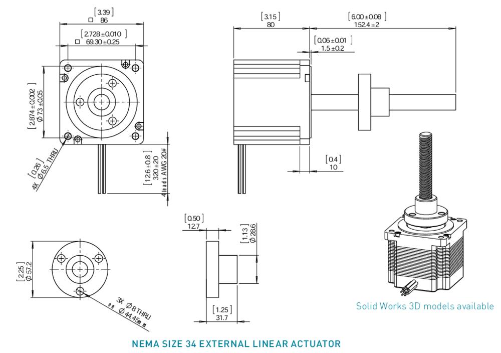 NEMA 34 External Linear Actuator Drawing