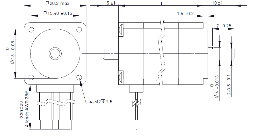 NEMA 8 Rotary Stepper Motor Drawing