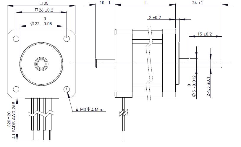 NEMA 14 Rotary Stepper Motor Drawing