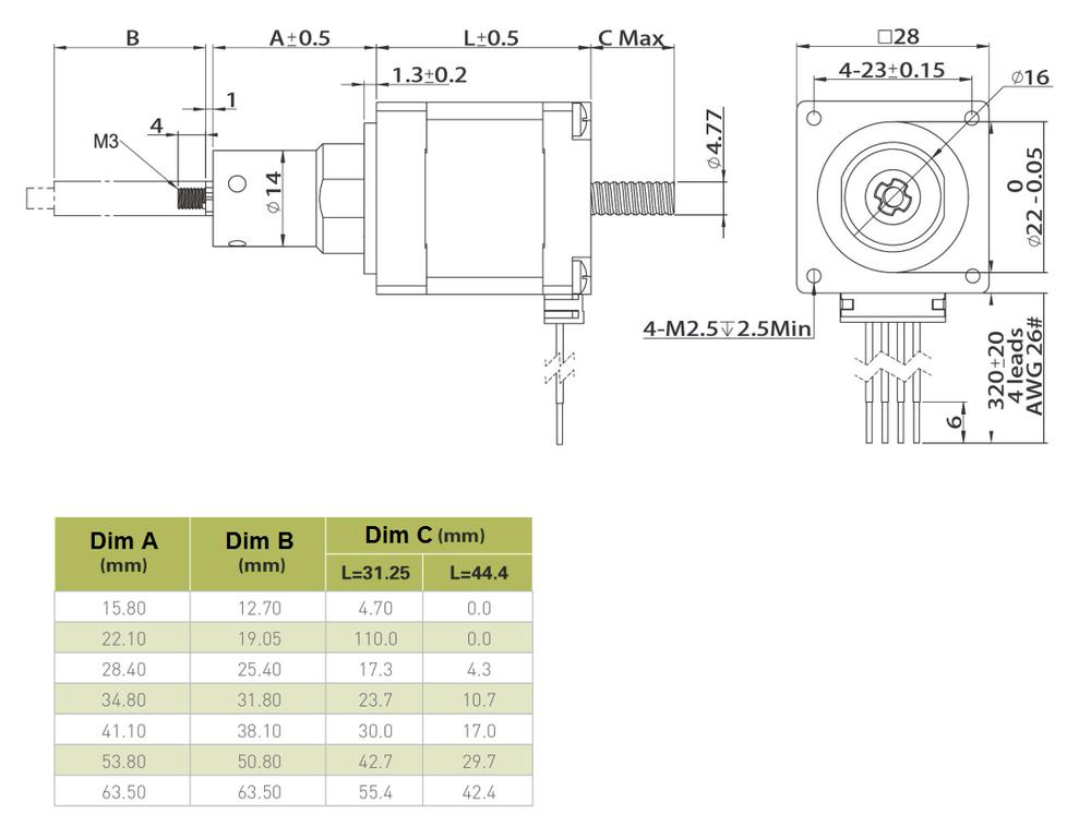 NEMA 11 Captive Linear Actuator Drawing