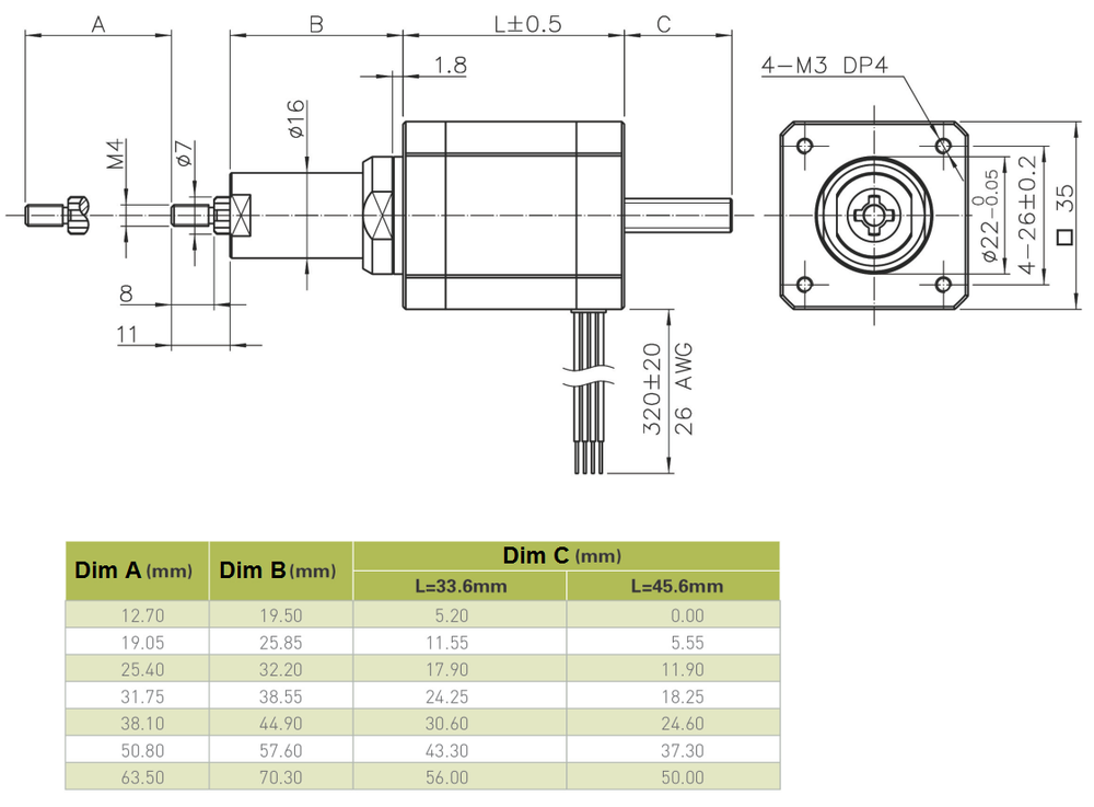 NEMA 14 Captive Linear Actuator Drawing
