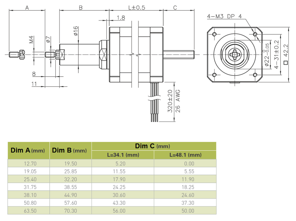 NEMA 17 Captive Linear Actuator Drawing