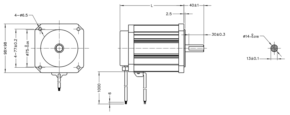 NEMA 40 BLDC Motor Drawing