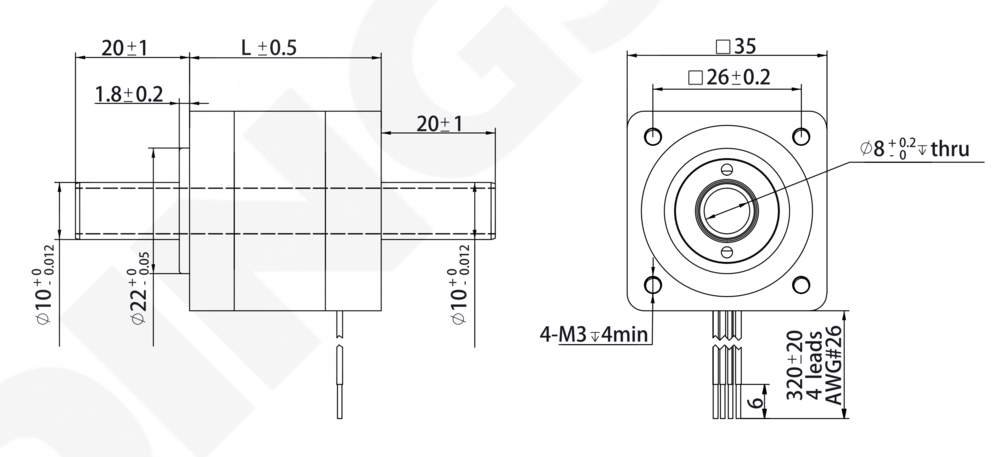 NEMA 14 Hollow Shaft Motor Drawing