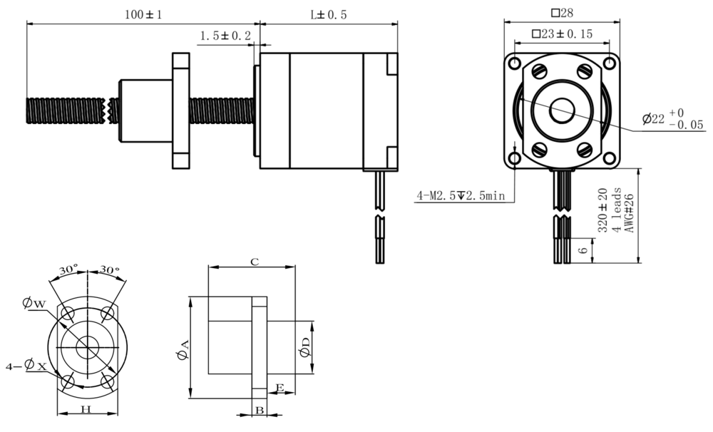 NEMA 11 Ball Screw Actuator Drawing