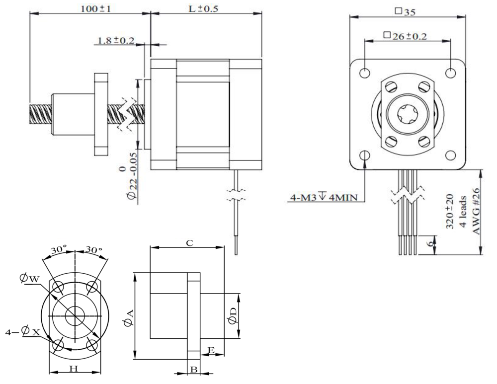 NEMA 14 Ball Screw Actuator Drawing