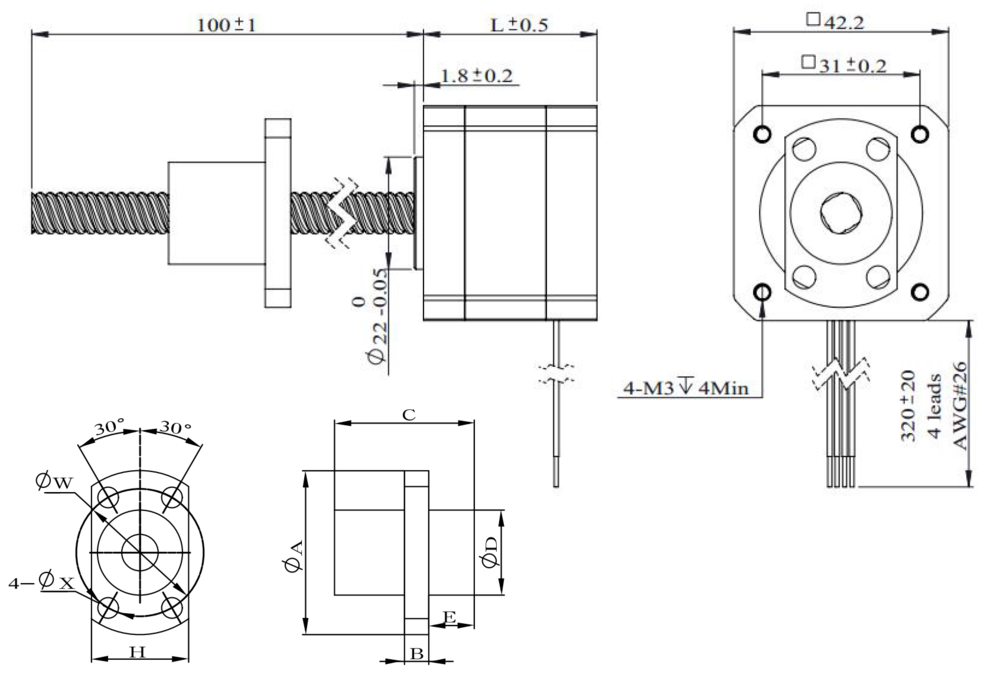 NEMA 17 Ball Screw Actuator Drawing