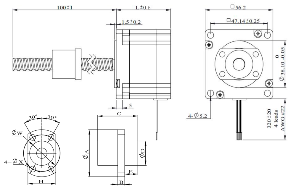 NEMA 23 Ball Screw Actuator Drawing
