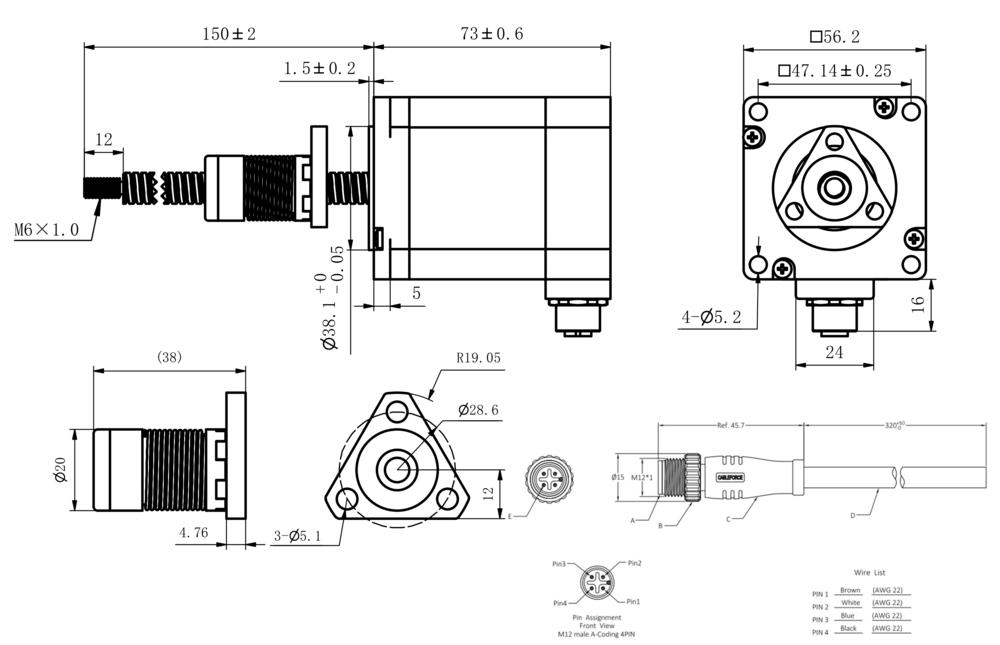NEMA 23 IP54 External Linear Actuator Drawing
